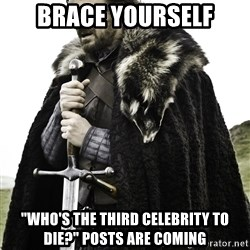 "Ned Stark - Brace Yourself ""Who's the third celebrity to die?"" posts are coming"