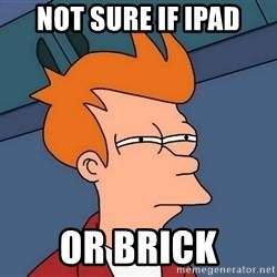 Futurama Fry - not sure if ipad or brick
