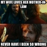 Never Have I Been So Wrong - My wife loves her mother-in-law Never have I been so wrong