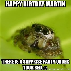 The Spider Bro - HAPPY BIRTDAY MARTIN THERE IS A SUPPRISE PARTY UNDER YOUR BED.☺