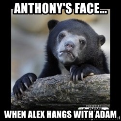 sad bear - Anthony's face... When Alex hangs with Adam