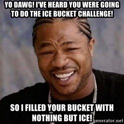 yo dawg nigga - yo dawg! i've heard you were going to do the ice bucket challenge! so i filled your bucket with nothing but ice!