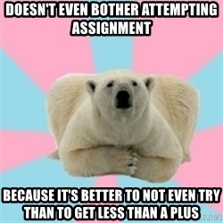 Perfection Polar Bear - doesn't even bother attempting assignment because it's better to not even try than to get less than A plus