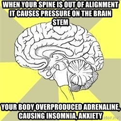 Traitor Brain - When your spine is out of alignment it causes pressure on the brain stem Your body overproduced adrenaline, causing insomnia, anxiety