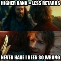 Never Have I Been So Wrong - Higher rank = less retards Never have i been so wrong