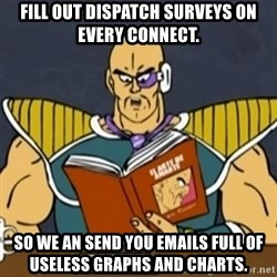 El Arte de Amarte por Nappa - FIll out dispatch surveys on every connect. So we an send you emails full of useless graphs and charts.