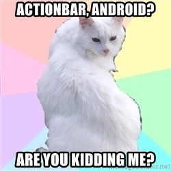 Beauty Addict Kitty - ActionBar, Android? are you kidding me?