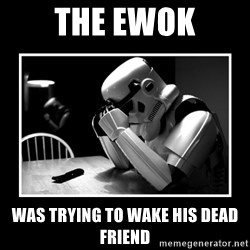 Sad Trooper - The ewok was trying to wake his dead friend