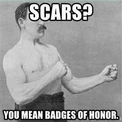 old man boxer  - scars? you mean badges of honor.