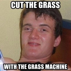 high/drunk guy - cut the grass with the grass machine
