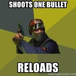 Counter Strike - shoots one bullet reloads