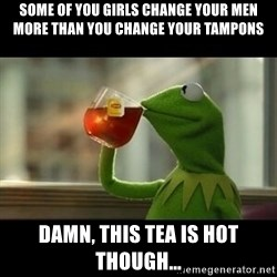 Kermit The Frog Drinking Tea - Some of you girls change your men more than you change your tampons Damn, this tea is hot though...