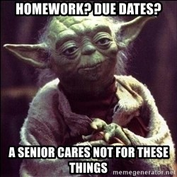 Advice Yoda - Homework? Due dates? A senior cares not for these things