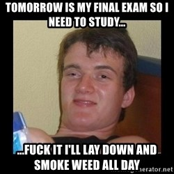 Weed Guy Walter - TOMORROW IS MY FINAL EXAM SO I NEED TO STUDY... ...FUCK IT I'LL LAY DOWN AND SMOKE WEED ALL DAY