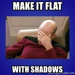 Picard facepalm  - make it flat with shadows