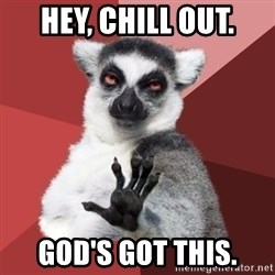 Chill Out Lemur - Hey, Chill out. God's got this.