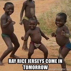 Dancing African Kid -  Ray Rice Jerseys come in tomorrow