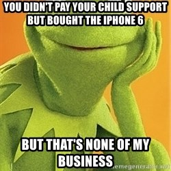 Kermit the frog - You didn't pay your child support but bought the iPhone 6  But that's none of my business