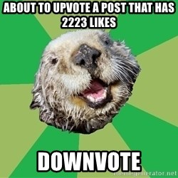 Ocd Otter - About to upvote a post that has 2223 likes downvote