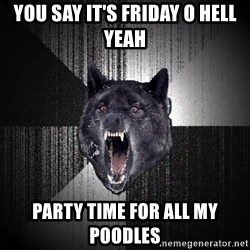 flniuydl - You say it's Friday O hell yeah Party time for all my poodles