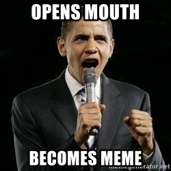 Expressive Obama - opens mouth becomes meme