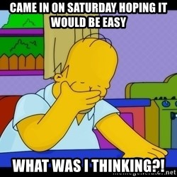 Homer Facepalm - Came in on Saturday hoping it would be easy  what was i thinking?!