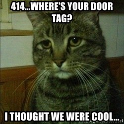 Depressed cat 2 - 414...Where's your door tag? I thought we were cool...