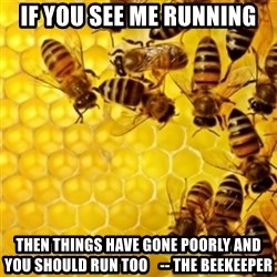 Honeybees - If you see me running then things have gone poorly and you should run too    -- the beekeeper