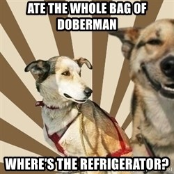 Stoner dogs concerned friend - ate the whole bag of doberman where's the refrigerator?