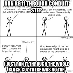 Memes - run rg11 through conduit step i just ran it through the whole block cuz there was no tap