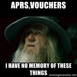 no memory gandalf - APRS,VOUCHERS  I HAVE NO MEMORY OF THESE THINGS