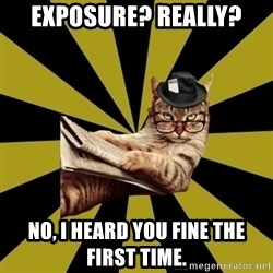 Frustrated Journalist Cat - Exposure? Really? No, I heard you fine the first time.