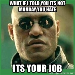 Matrix Morpheus - what if i told you its not monday you hate its your job