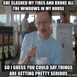 so i guess you could say things are getting pretty serious - She slashed my tires and broke all the windows in my house so i guess you could say things are getting pretty serious