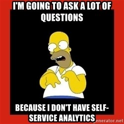 Homer retard - I'm going to ask a lot of questions Because I don't have self-service analytics