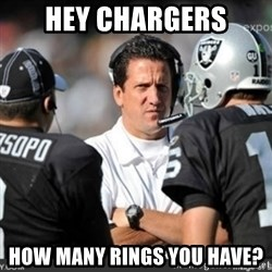 Knapped  - Hey Chargers How many rings you have?