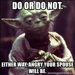 Advice Yoda - Do or Do Not. Either way, angry your spouse will be.
