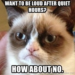 Angry Cat Meme - WANT TO BE LOUD AFTER QUIET HOURS? HOW ABOUT NO.