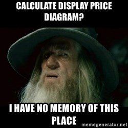no memory gandalf - CALCULATE DISPLAY PRICE DIAGRAM? I HAVE NO MEMORY OF THIS PLACE