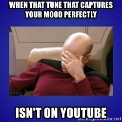 Picard facepalm  - When that tune that captures your mood perfectly Isn't on YouTube
