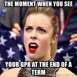 Ashley Wagner Shocker - the moment when you see your gpa at the end of a term