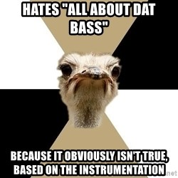 """Music Major Ostrich - Hates """"All about dat bass"""" because it obviously isn't true, based on the instrumentation"""
