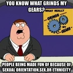 YOU KNOW WHAT REALLY GRINDS MY GEARS PETER - you know what grinds my gears? People being made fun of because of  sexual orientation,sex,or ethnicity