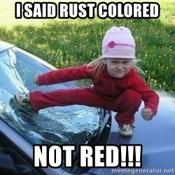 Angry Karate Girl - I SAID RUST COLORED NOT RED!!!