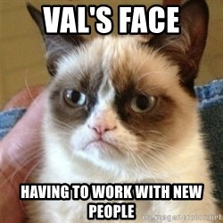 Grumpy Cat  - Val's face having to work with new people