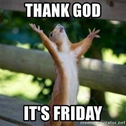 Praising Squirrel - thank god It's Friday