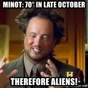Therefore Aliens - Minot: 70° in late october Therefore Aliens!