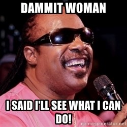 stevie wonder - Dammit woman I said i'll see what i can do!