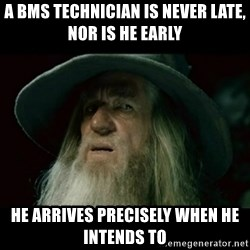 no memory gandalf - A BMS Technician is never late, nor is he early He arrives precisely when he intends to