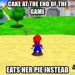 Mario looking at castle - Cake at the end of the game Eats her pie instead
